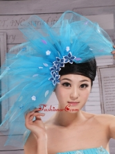 Aqua Blue Flowers Decorate Tulle Fascinators For Party XTH082FOR