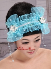 Aqua Blue Tulle Headpieces With Rhinestones and Imitation Pearls Decorate XTH089FOR