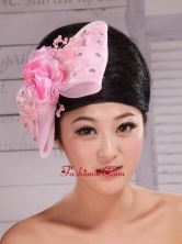 Baby Pink Lace and Rhinestones Decorate Elegant Headpieces For Party  XTH076FOR