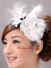 Beautiful Feather Flower Hairpin Wedding and Outdoor Organza Fascinators TH074FOR