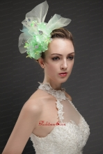 Beautiful Green Tulle Fascinators With Beading And Hand Made Flowers UNION29T028FOR