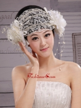 Beautiful Lace Hat Hair Ornament Headpieces Inexpensive Bridal For Party XTH054FOR