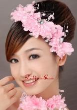 Beautiful Pink Taffeta Beading Hand Made Flowers Hair Combs TH028FOR