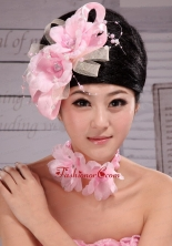 Beautiful Pink Taffeta and Tulle Pearl Fascinators For Party XTH095FOR