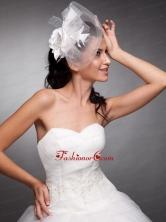 Beautiful Taffeta and Net Pearls Net Yarn Bridal Fascinators JDZH07FOR