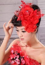 Best Red and Tulle For Headpieces With Beading XTH021FOR