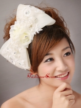 Big Bowknot With Lace and Hand Made Flowers For Brides TH073FOR