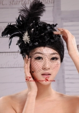 Black Best Sale Hat Flower Wedding Headpieces With Feather Beading  XTH045FOR