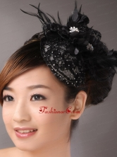 Black Lace and Feather Headpices With Imitation Beading Decorate For Party TH057FOR