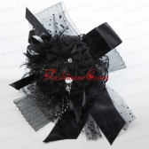 Black Rhinestone Feather Hair Ornament for Imitation Pearls ACCHP099FOR