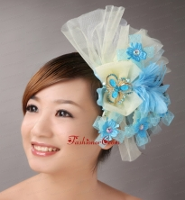 Blue Feather and Light Yellow Net Flower With Beading For Bridal  TH048FOR