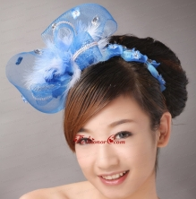 Blue Net and Feather With Beading Flower For Bridal  TH049FOR
