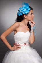 Blue Taffeta Beaded Hand Made Flowers Headpieces JDZH026FOR
