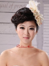 Champagne Tulle and Chiffon Fascinators With Imitation Pearls XTH003FOR