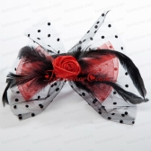 Cheap Tulle Black Feather Flower Hairpin for Wedding ACCHP084FOR
