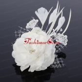 Cheap White Feather and Tulle Fascinators with Pearl ACCHP007FOR