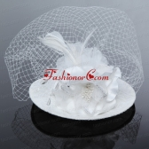 Cheap White Rhinestone Feather Imitation Pearls Hat Hair Ornament ACCHP062FOR