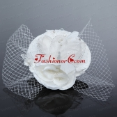 Cheap White Rhinestone Feather Imitation Pearls Hat Hair Ornament ACCHP063FOR