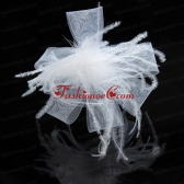 Cheap White Tulle Elegant Feather Fascinators  ACCHP087FOR