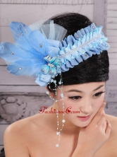 Classical Rhionstones and Feather Decorate On Tulle Baby Blue Headpices For Party  XTH084FOR