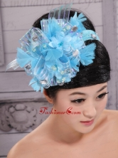 Classical Sky Blue Headpices With Rhionstones and Feather Decorate On Tulle For Party XTH083FOR
