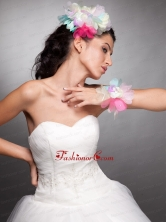 Colorful Organza Hand Made Flower Headpieces Wrist Corsage JDZH023FOR