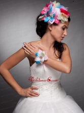 Colorful Organza Hand Made Flowers Headpieces and Wrist Corsage JDZH029FOR