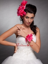 Coral Red Taffeta Hand Made Flowers Headpieces and Wedding Wrist Corsage JDZH025FOR