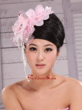 Custom Made Baby Pink Headpieces Organza and Tulle With Imitation Pearls and Beaded Decorate XTH075FOR