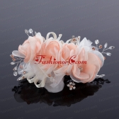 Cute Beading Tulle Peach Hair Flower for Outdoor ACCHP005FOR