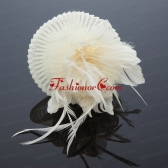 Cute Feather and Tulle Wedding White Hat Hairpin  ACCHP078FOR