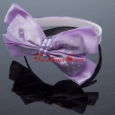 Cute Lavender Bowknot Hairpins Birdcage Veils with Beading ACCHP070FOR