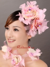 Cute Pink Feather Flower Fascinators TH009FOR