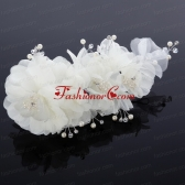 Cute Tulle Wedding Hair Flower with Imitation Pearls ACCHP022FOR