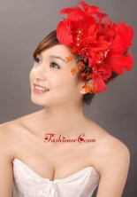 Elegant Red Feather Flowers Beading Womens Fascinators TH033FOR