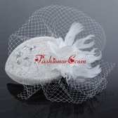 Elegant White 2014 Rhinestone Feather Hat Hair Ornament ACCHP060FOR