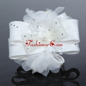 Exculsive White Lilac Satin Hair Flower with Beading ACCHP038FOR