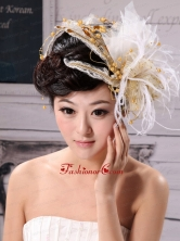 Exquisite Tulle Feather Flower Hairpin Wedding and Outdoor XTH004FOR