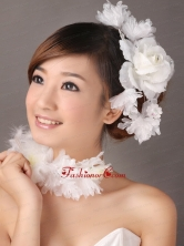 Fascinators White Organza Special Occasion and Outdoor Beading TH085FOR