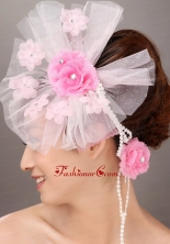 Fashionable Light Pink Tulle Hand Made Flowers Beading Fascinators For Party TH020FOR