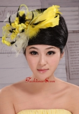 Fashionable Yellow and Black Feather Tulle Women s Fascinators  XTH097FOR