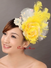 Feather Appliques Yellow Special Occasion Fascinators TH014FOR