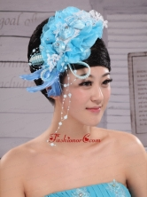 Feather Custom Made Aqua Blue Headpices With Imitation Pearls and Flowers Decorate XTH085FOR