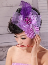 Feather Ribbon Pearl Lavender Bridal Headpiece  XTH036FOR