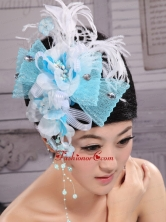 Feather and Rhinestones Decorate Aqua Blue Headpieces XTH090FOR