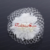 Feather and Tulle Imitation Pearls Feather Flower Hairpin for Outdoor ACCHP008FOR
