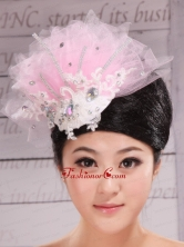 Fully Handmade Beaded and Appliques Decorate Baby Pink Headpieces XTH074FOR