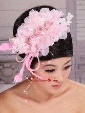 Fully Handmade Beaded and Flowers Decorate For Party Rose Pink Headpieces XTH073FOR
