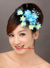 Fully Handmade Blue Organza Imitation Pearls Fascinators TH017FOR