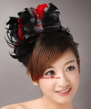 Fully Handmade Sweet Black and Red Headpieces Imitation Pearls With Feathers For Party  TH044FOR